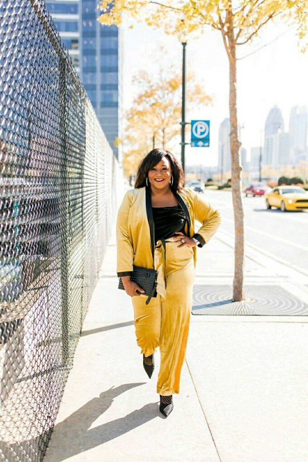 Eloquii Gold Velvet Suit