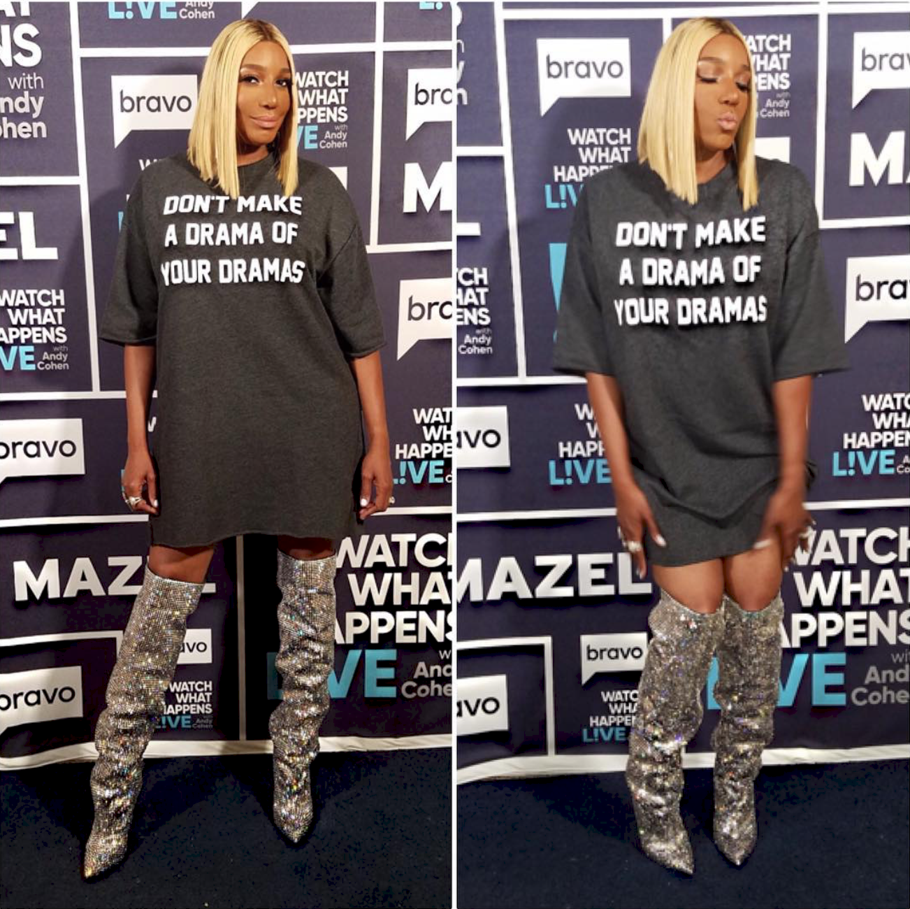 Nene Leakes in Saint Laurent Boots