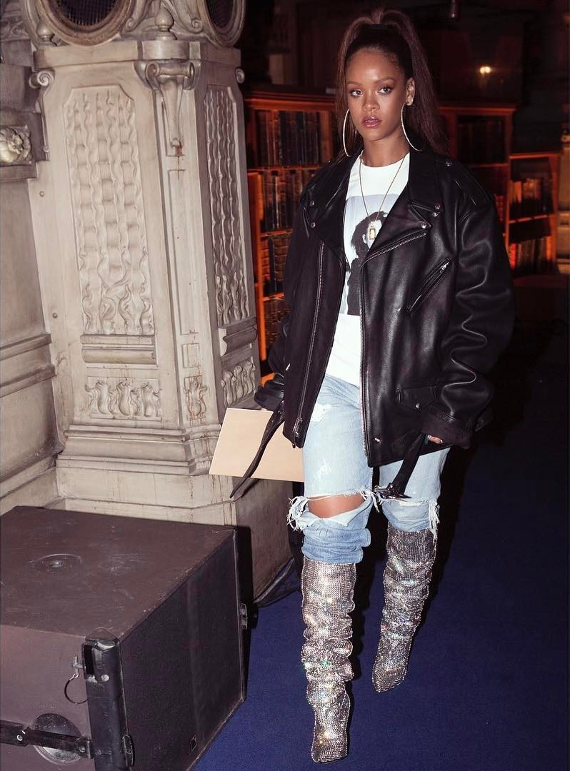 Rihanna in Saint Laurent Boots
