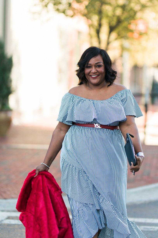 SheIn Plus Size Off Shoulder Gingham Asymmetric Hem Dress