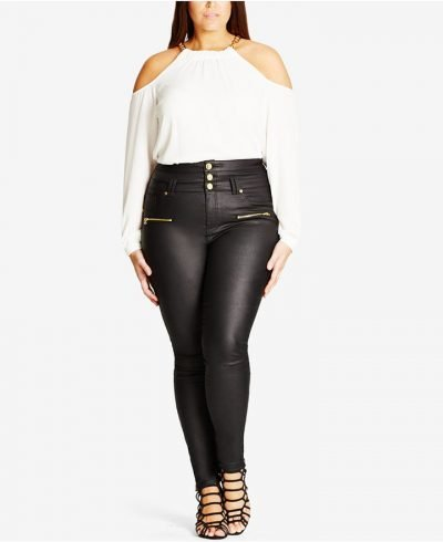 City Chic Skylar Corset Coated Skinny Jeans