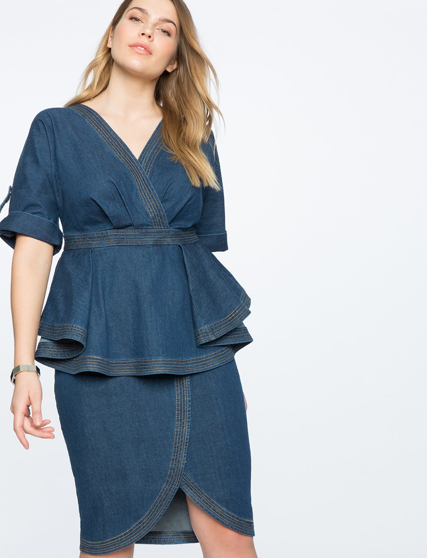 Denim Dress with Peplum Detail