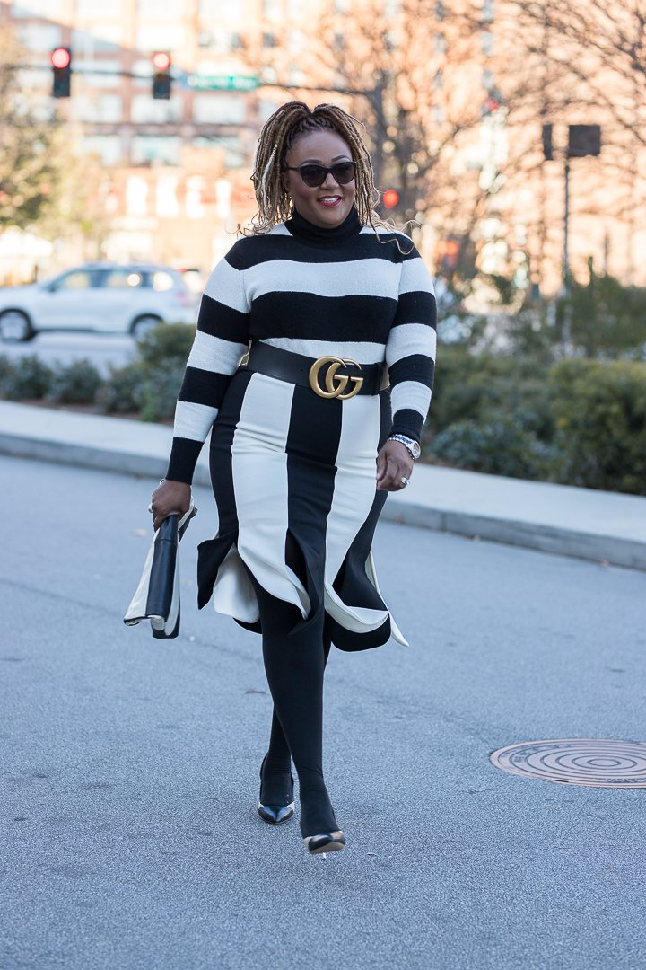Nikki Free in black-white stripe Blaire Eadie sweater