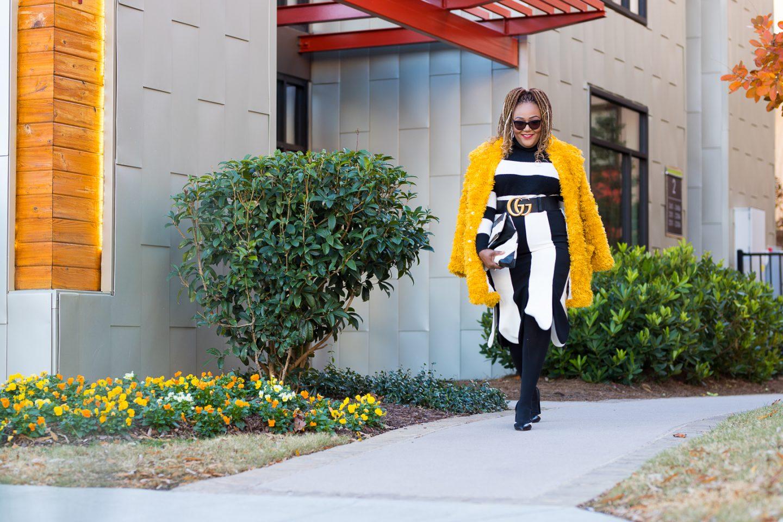 Nikki Free in black-white Victoria Beckham x Target skirt
