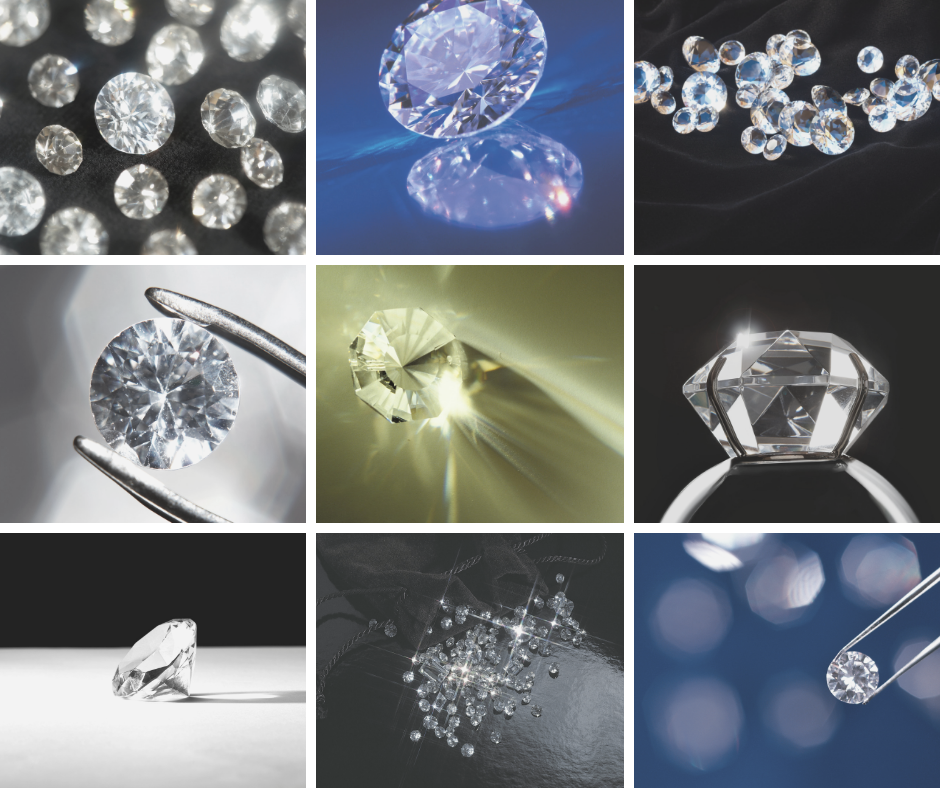 a photo grid of pictures of loose diamonds